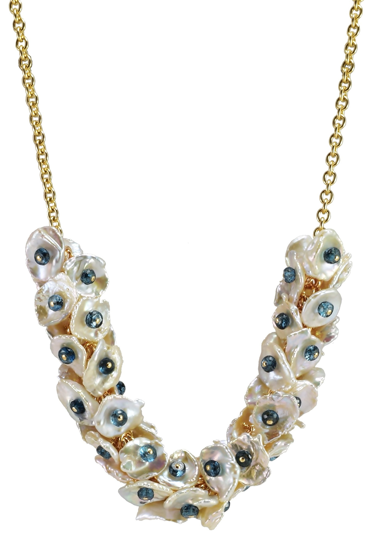 London Blue Topaz & Double Pearl Chip Necklace