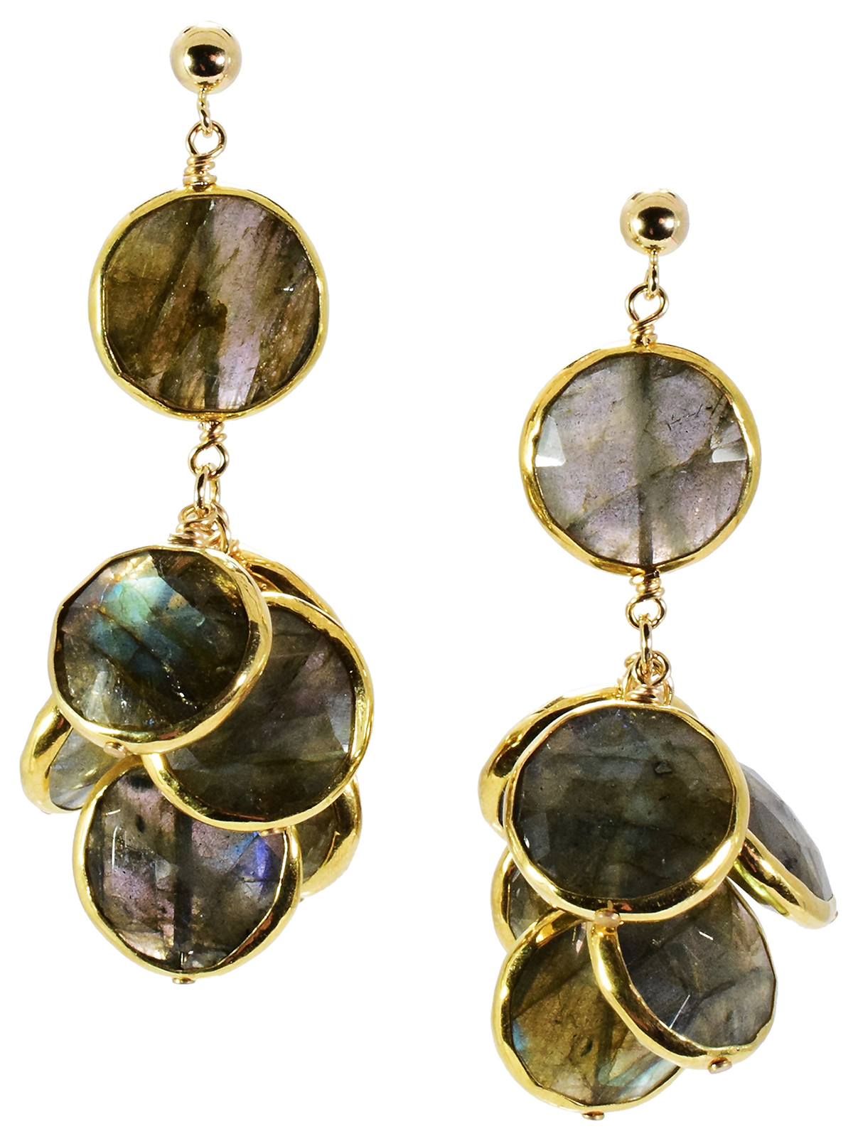 Labradorite Bezel Set Coin Earrings