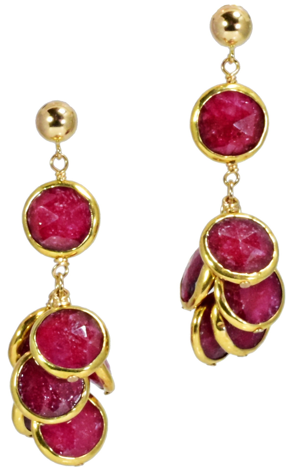 Ruby Bezel Set Coin Earrings