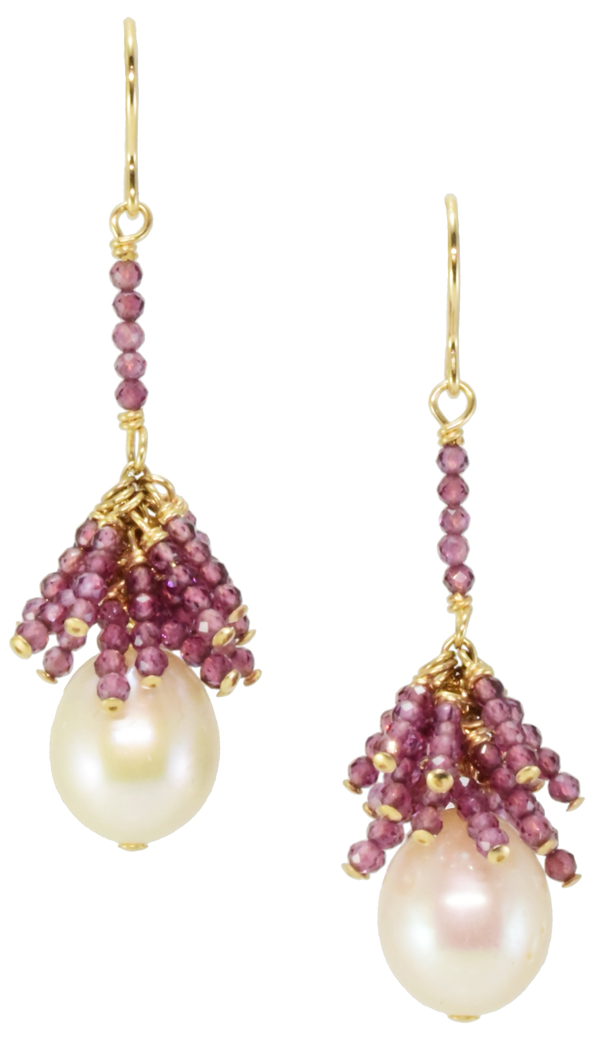 PEARL & RHODOLITE GARNET EARRINGS