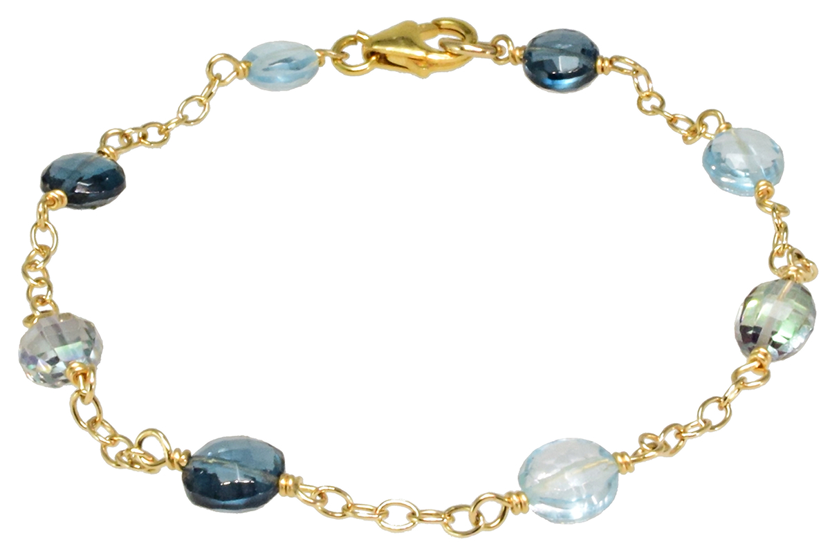 MYSTIC, SKY BLUE & LONDON BLUE TOPAZ BRACELET IN GOLD FILLED