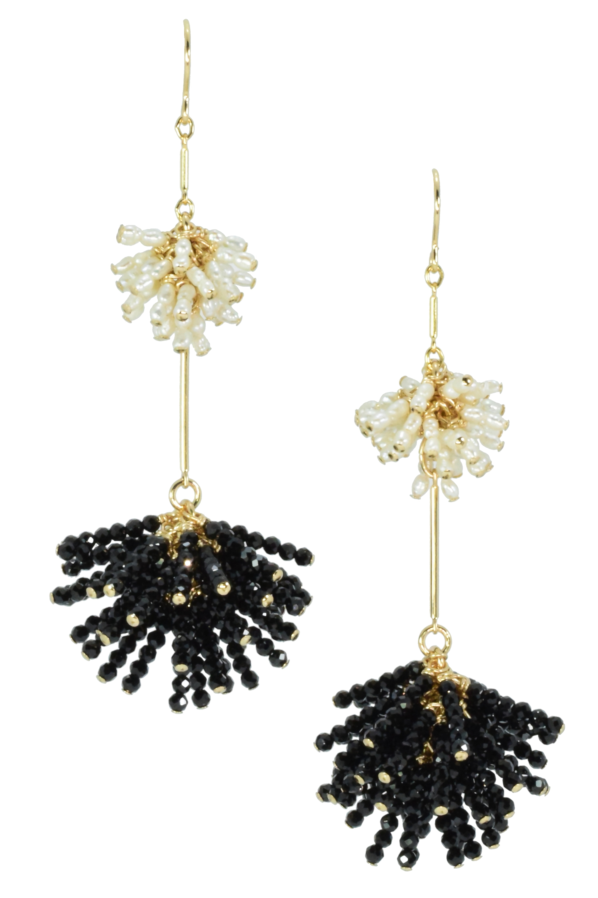 Double Starburst Earrings in Pearl & Black Spinel
