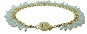 Sky Blue Topaz Fringe Bracelet in Gold-Filled