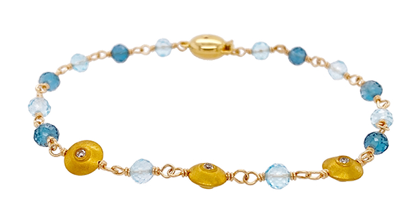 Topaz & Diamond Bead Bracelet