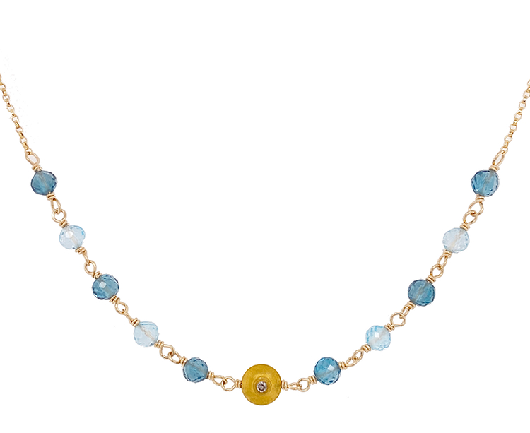 Blue Topaz & Diamond Bead Necklace