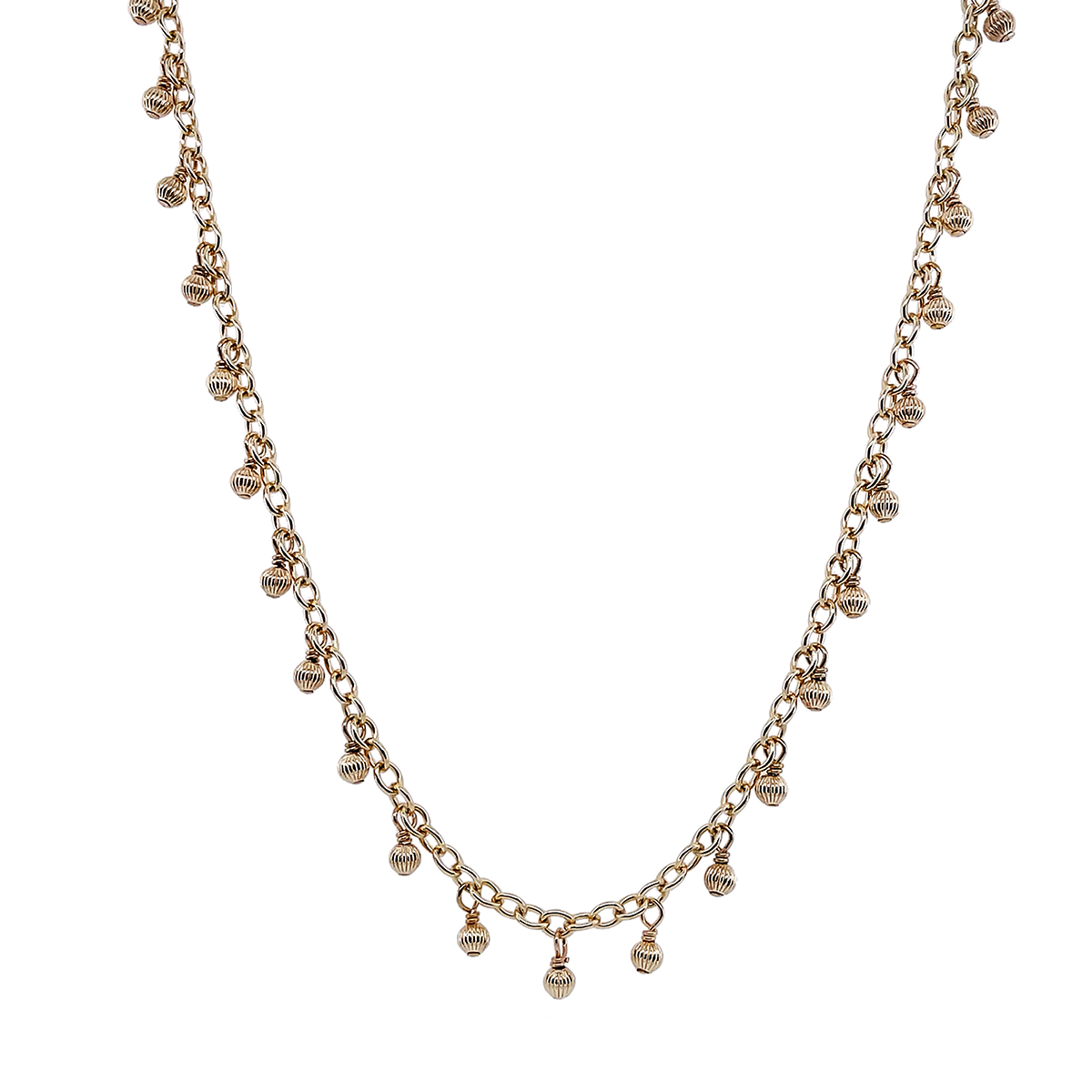 Gold-Filled Bead & Chain Necklace, 16
