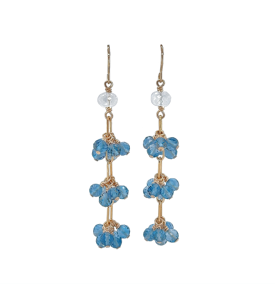 Moonstone & Blue Topaz Earrings