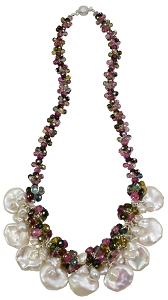 Coin Pearl & Tourmaline Necklace
