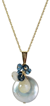 Coin Pearl, White Sapphire & London Blue Topaz Pendant Necklace
