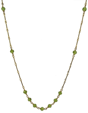 Peridot Necklace on Bar Chain