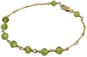 Peridot Bracelet on Bar Chain
