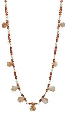 Hessonite Garnet & Copper Rutile Quartz Necklace