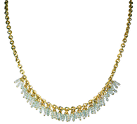 Sky Blue Topaz Fringe Necklace in Gold-Filled