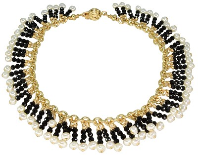 Black Spinel & Pearl Fringe Bracelet in Gold Filled